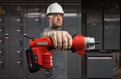 RIDGID® RE 6 Electrical Tool Features 3-in-1 QuickChange System™ for Cutting, Crimping and Punching