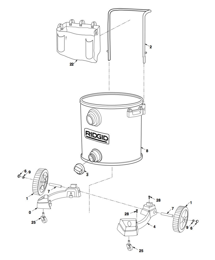Parts 16 Gallon Stainless Steel Wet Dry Vac With Cart Auto Engine Diagram Zoom In 1610rv Assembly