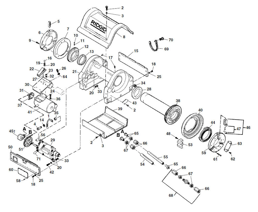 Parts Model 1224 Threading Machine Ridgid Store 4 Wire 220v Plug Wiring Diagram Zoom In Main Drive Components