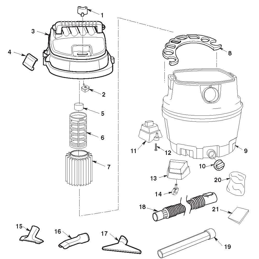 Ridgid Shop Vac Casters >> Parts 14 Gallon Wet Dry Vac Ridgid Store