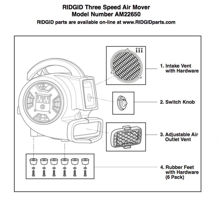 Array - parts   mini air mover with daisy chain   ridgid store  rh   store ridgid com
