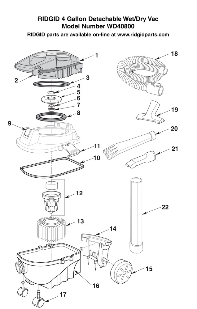 Ridgid Shop Vac Casters >> Parts 4 Gallon Detachable Wet Dry Vac Ridgid Store