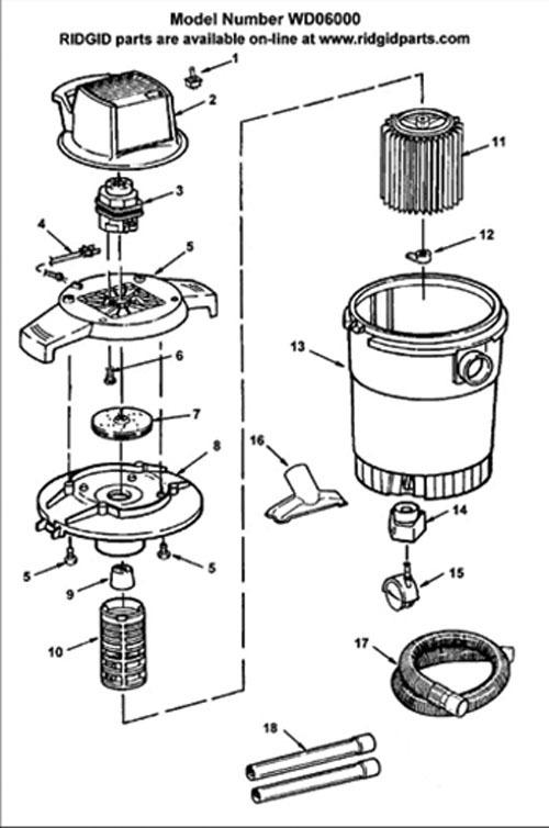 Ridgid Shop Vac Casters >> Parts 6 Gallon Wet Dry Vac Ridgid Store